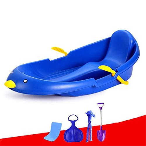 WEHOLY Sled Snow - Tobogán para niños con Frenos y Tablas deslizantes, Tabla de Arena para niños, esquí de Arena y Patines de Hierba, Azul, 70 cm