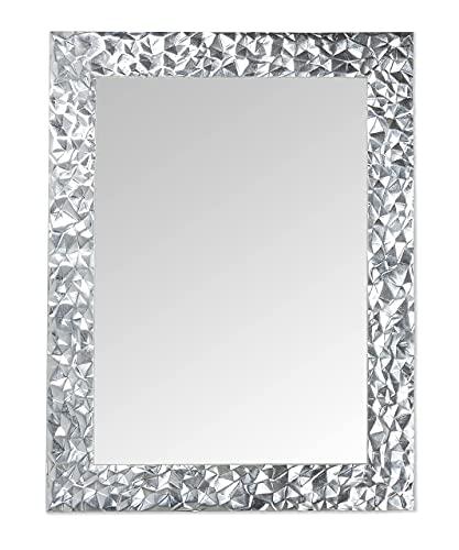 MO.WA Espejo de pared con hoja de plata de diseño moderno italiano rectangular 72 x 95 cm marco de madera para colgar en el dormitorio, entrada, salón, baño. Fabricado en Italia.