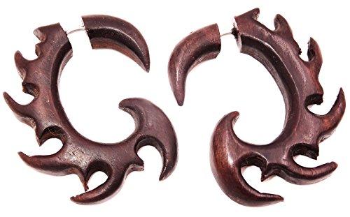 Made in Zen - Dilatadores falsos para oreja, unisex, madera, diseño étnico en espiral, color marrón