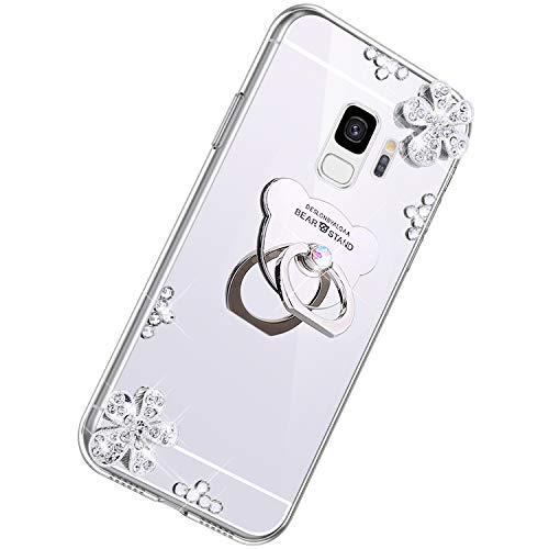 Herbests Compatible avec Samsung Galaxy S9 Coque Luxury Bling Cristall Brillant Élégant Miroir Étui Rhinestone Scintillant Diamant Téléphone Cas Floral Silicone Slim TPU Bumper Cover,Argent