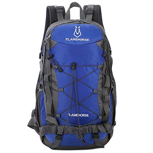 TOMSHOO Mochila de senderismo impermeable de 40 l, para deportes al aire libre, camping, escalada, ciclismo, viajes, para hombres y mujeres, azul