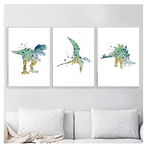 kaxiou Aquarell Cartoon Tier Poster Druck Dinosaurier Wand Leben Kinderzimmer Home Dekoration Kunst Bild Leinwand Malerei-40X60Cmx3 Pcs Kein Rahmen