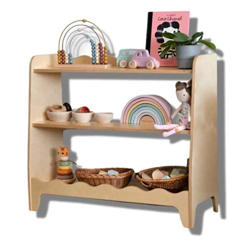 Mami - Estantería Montessori de madera para niños | Dormitorio de niños | Porta objetos juguetes peluche libros | Estantería para niños | 3 estantes | Modelo Arcobaleno