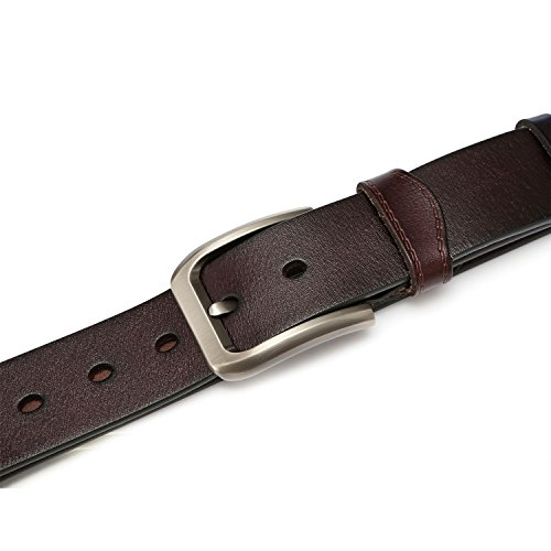 KEECOW Mens Leather Belts,Great for Suits/Jeans/Casual and Formal Wear/Black/Suits Up To 48inch Waist (115CM (35'' - 39''), Type 3 Brown)
