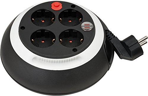 Brennenstuhl Comfort Line Kabelbox CL-S 4-fach / Mini-Kabeltrommel (Indoor-Kabeltrommel für Haushalt, 3m Kabel, Made in Germany) schwarz/weiß