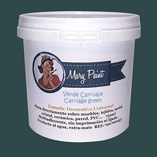 Mary Paint   Pintura para muebles efecto Chalk Paint, Verde Carruaje - 750ml