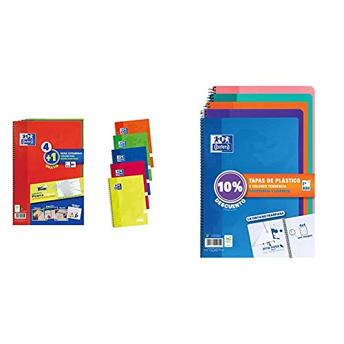 Pack 4+1 Cuadernos Folio(A4) Oxford. Tapa Extradura Write&Erase + os Folio(A4) Pack 5 unidades. Tapa Plástico. 80 Hojas cuadrícula 4x4. Surtido tendencia.