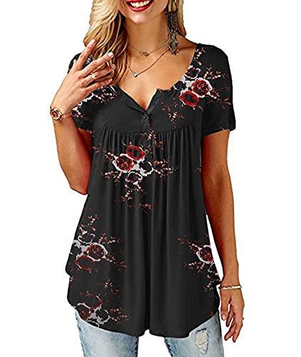 SWAGSTS Damska koszulka letnia, okrągły dekolt, krótki rękaw, luźna listwa guzikowa, bluzka na co dzień, z nadrukiem, tunika