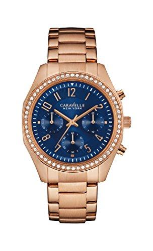 Caravelle New York Rose Gold Melissa-Reloj de Cuarzo para Mujer con Esfera Azul Cronógrafo y Pulsera de Oro Rosa 44l196
