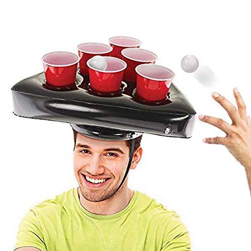 luckything Aufblasbare Bier Pong Hüte, Hut Pong, Aufblasbarer Bier Pong Hut Schwimmbecken Bier Pong Tische, Bier Pong Spiel Set Trinkspiele, Gesellschaftsspiele