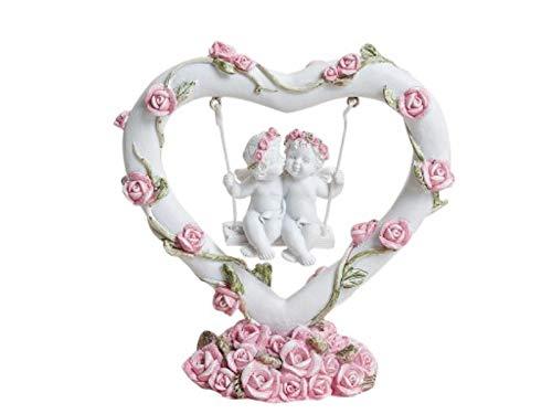 meindekoartikel Engel auf Schaukel in Herz mit Rosen aus Poly Weiss/rosa B10xH10xT4cm
