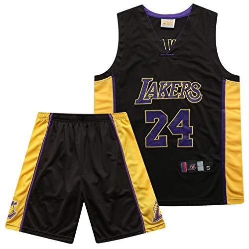 PGODYQ Baloncesto Jersey James 23 Kobe 24 Bryant 8 para Los Fanáticos De Lakers, Bola Bordada Número De Bola Y Logo Pantalones Cortos De Baloncesto para Hombre Jersey Chale 24 Black-S