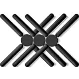 3/Pack Foldable Silicone Trivets, FENGCHEN Folding Trivets, Non-Slip Collapsible Cross Compact Design Expandable Silicone Pot Holder, Black