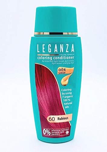 Leganza Färbender Conditioner Farbe 60 Rubinrot Mit 7 Natürlichen Ölen Ammoniak und Paraben frei