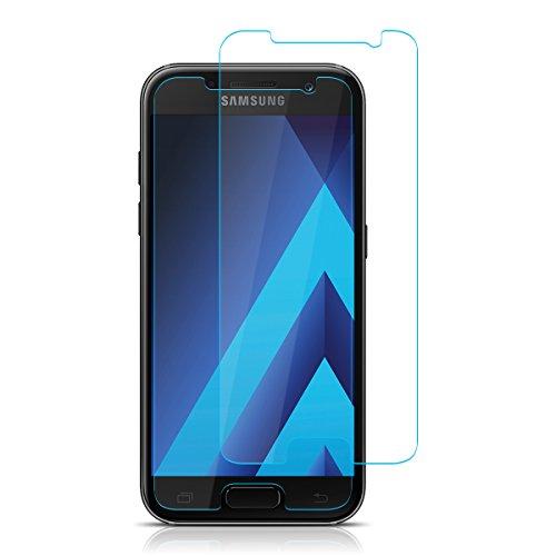 ELZO Panzerglas Schutzfolie Kompatibel für Samsung Galaxy A3 2017, Panzerglasfolie, [2 Stück] Bildschirmschutzfolie/Displayschutz/Gehärtetes ballistisches Glas/Prämie Schützen Film - Klar/Ultra Dünn