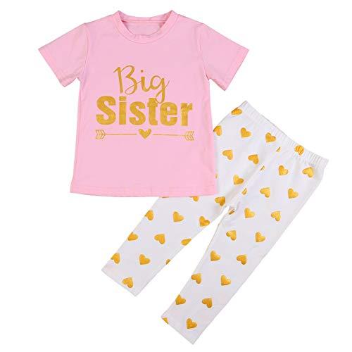 BOBORA Ropa Bebé Niñas, Camiseta de Algodón de Manga Corta para Niñas con Pantalones Love Hearts