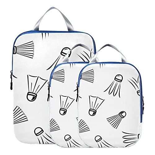 Bolsas de equipaje para viajes Raqueta de bádminton y raqueta de tenis Accesorios de viaje Bolsas de embalaje de compresión expandibles para equipaje de mano, viaje (juego de 3)