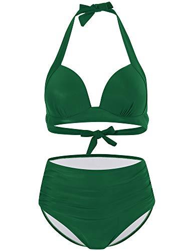 FLYILY Damskie bikini z wysokim stanem zestaw 2-częściowy stroje kąpielowe damskie push-up wyściełane(Green,L)
