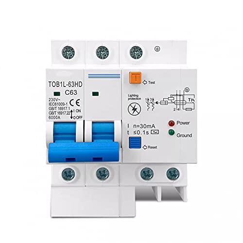 LUOXUEFEI Disyuntor Diferencial Interruptor Disyuntor De Corriente Residual Interruptor Principal Con Protector De Sobretensión