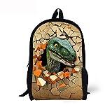 YUIOP Mochila Boy Dinosaur Print School Bag Mochila 3D Animal Mochila