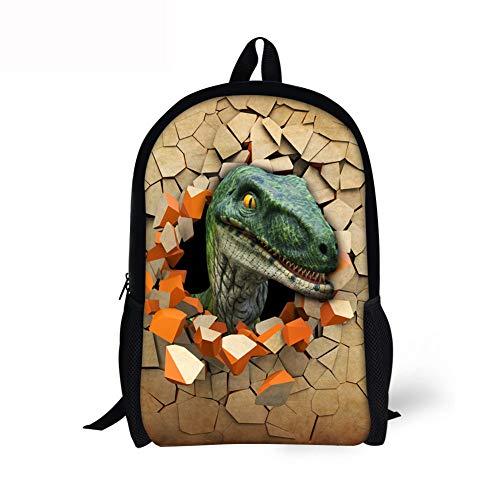 YUIOP Rucksack Junge Dinosaurier Druck Schultasche 3D Tier Rucksack Rucksack
