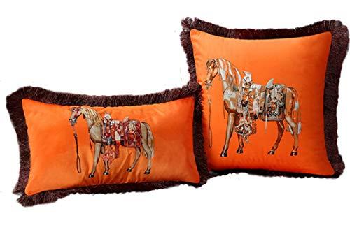 SHJAN Fundas de almohada de felpa de doble cara, lujosas mantas de estilo aristocrático europeo, caballo, sillín, carruaje, caballero, caballero y cetro (dos piezas) OS01
