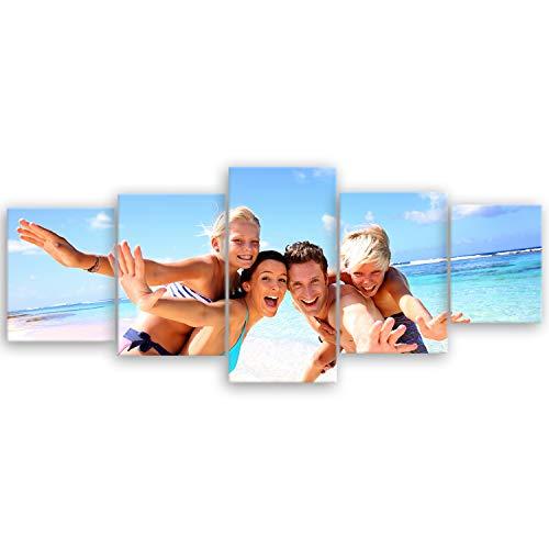 ge Bildet hochwertiges Leinwandbild XXL - Ihr eigenes Foto - Ihr Wunsch-Motiv auf Künstler-Leinwand - 200 x 80 cm mehrteilig (5 teilig) 2175III
