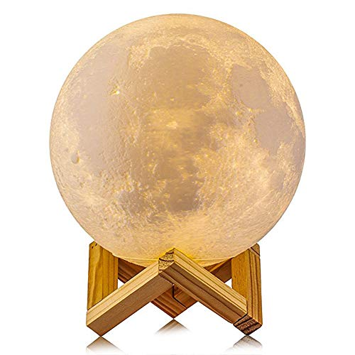 Moon Lamp LED Night Light- True Life Market- 5.9 inch 3D Printed with Stand- 3 Colors: Yellow,...