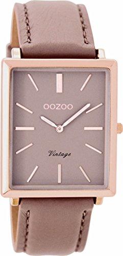 Oozoo Vintage dameshorloge plat rechthoekig lederen band 31 MM Rose/Pinkgrijs/Roze grijs C8187