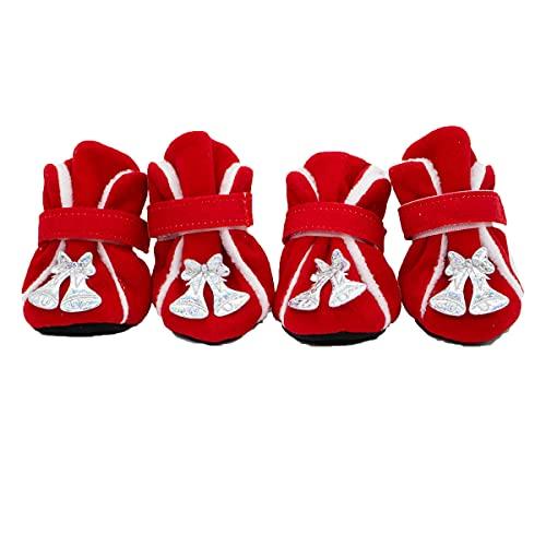 Navidad Mascota Perro Zapatos Nieve Botas Navidad Ciervo Patrón Perro Gato Navidad Atuendo Campana Patttern Cálido Invierno Perro Zapatos Botas Mascota Protección De Patas para Perros
