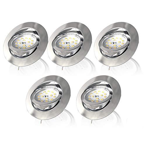 B.K.Licht I LED Einbauleuchte I 3-stufig dimmbar über Wandschalter I 5er Set I 5x 5,5W LED Modul I 470lm I Schwenkbar I 3.000K Warmweiß I IP23 I Ultra-Flach I Matt-Nickel