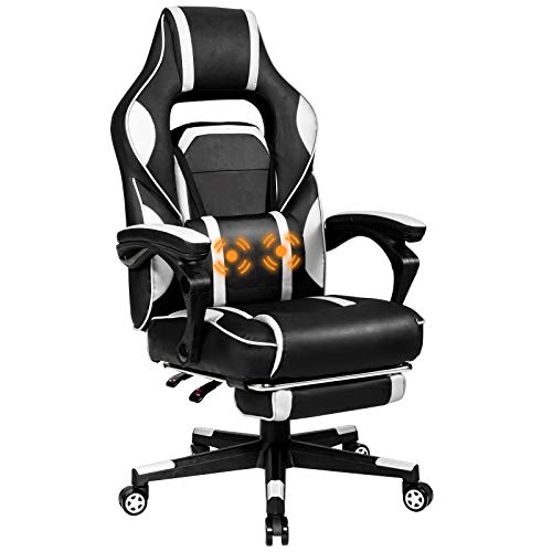 Giantex Ergonomic Gaming Chair, Executive Computer Office Chair with USB Massage Lumbar Cushion and Retractable Footrest, High Back Swivel Chair with Backrest and Height Adjustable (White)