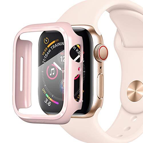 PZOZ Kompatibel mit Apple Watch Series 5/4 Hülle mit PET Displayschutz, iWatch Sehr stark PC Schutzhülle, All-Around Schutz Case für Apple Watch Series 5/4 40mm(40mm, Rosa)