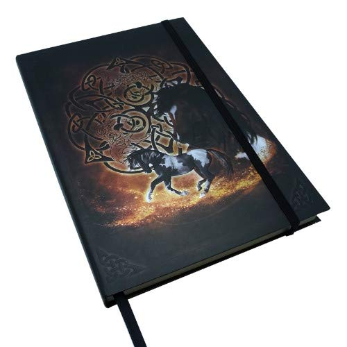 Pacific Giftware Beautiful Fantasy Celtic Writing Drawing Plain Journal Dairy Notebook with Strip 6' X 8' (Brown Horse)