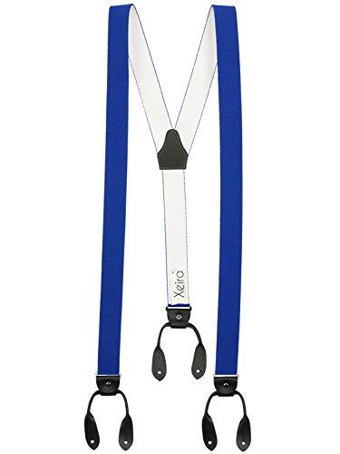 Xeira® Vintage Bretelles de haute qualité pour Femmes / Hommes à boutonnière - Cuir véritbale - Taille réglable jusqu'à 190cm - Fabriqué en Allemagne - Noir / Orange / Rouge / Bordeaux / Bleu / Jaune / Vert (Normal Taille, Bleu Roi / Noir)