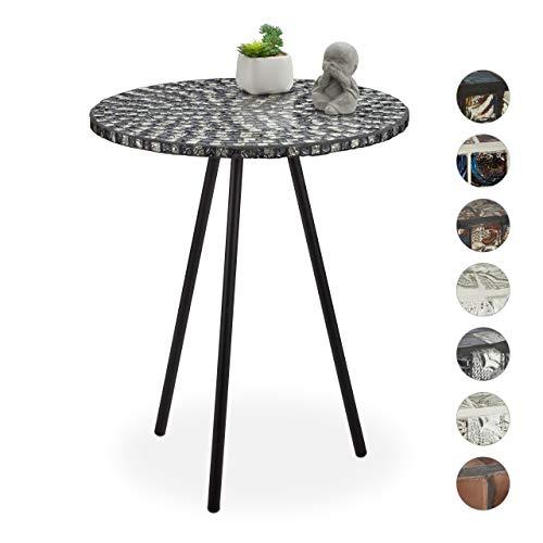 Relaxdays Mozaïek bijzettafel, ronde siertafel, handgemaakt, unicum, mozaïektafel, HxD: 50 x 41 cm, zwart-wit