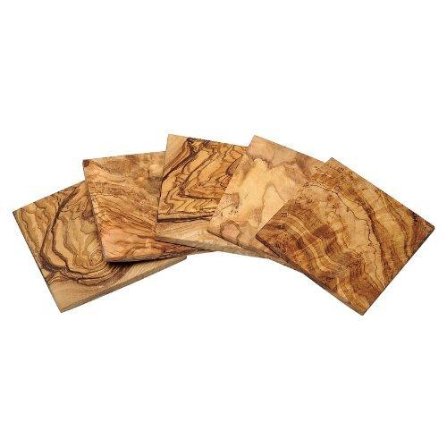 Mini vassoio quadrato in legno d'ulivo (sottobicchiere) ca. 9 x 9 x 0,6 cm.