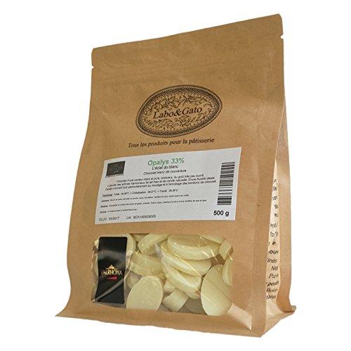 Valrhona - Opalys 33% chocolat blanc de couverture Création Gourmande fèves 500 g