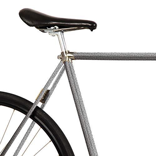 MOOXIBIKE Japan Kreise Grau Mini Fahrradfolie mit Muster für Rennrad, MTB, Trekkingrad, Fixie, Hollandrad, Citybike, Scooter, Rollator für circa 13 cm Rahmenumfang
