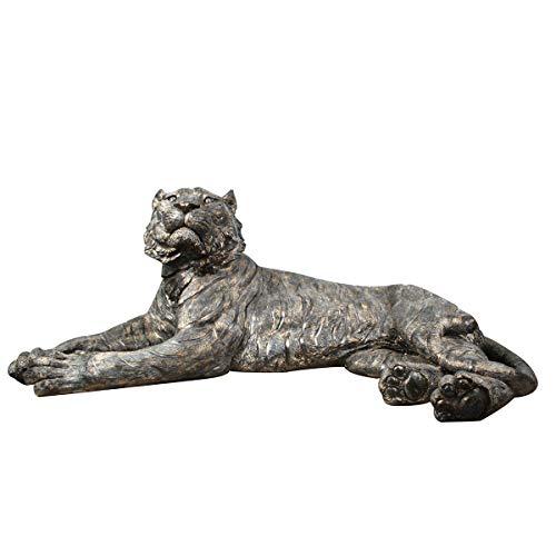 Figura Decorativa de Resina Tigre Dorado Tumbado. Adornos y Esculturas. Animales. Decoración Hogar. Regalos Originales. 108 x 58 x 43 cm.
