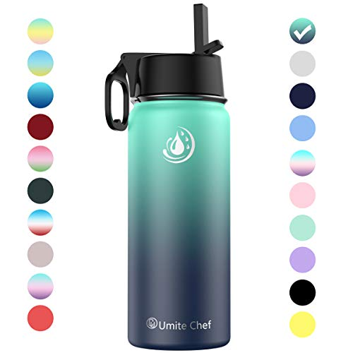 Umite Chef Sports Water Bottle with New Wide Handle Straw Lid, Vacuum Insulated Stainless Steel Thermo Mug, 32 oz Double Walled Wide Mouth Water Bottle,Leak Proof, Sweat Free (Ocean)