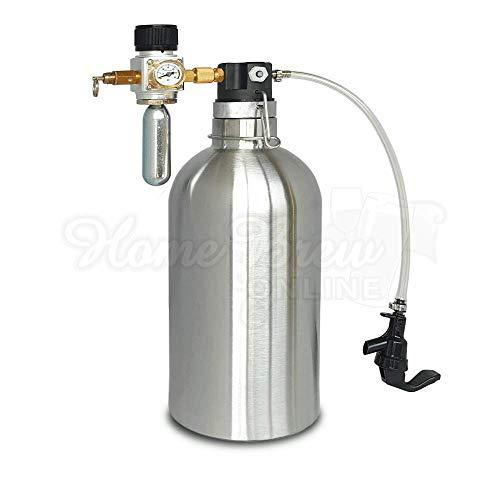 Kegland - Juego de 2 litros de dispensador de cerveza y regulador de inyección de CO2
