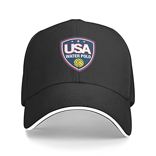 USA Water Polo Sun Hat Dad Hat Baseball Cap Cotton Adjustable Fitted for Women Men Black