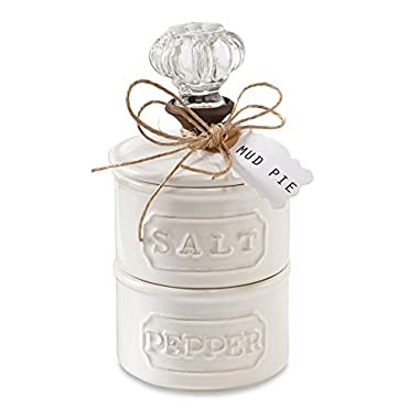 Mud Pie Door Knob Salt Cellar Set, White (4511007)