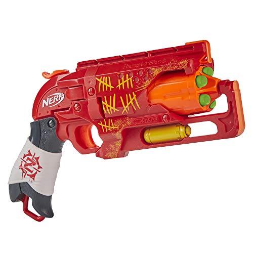 NERF Zombie Strike Hammershot Blaster -- Pull-Back Hammer-Blasting Action, 5 Official Zombie Strike...