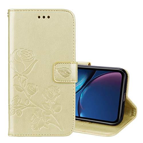 KCSds Voltear el iPhone de Apple Caso XR Rose Relieve Horizontal de la PU del Caso de Cuero con el sostenedor y Ranuras for Tarjetas y Monedero (Color : Gold)