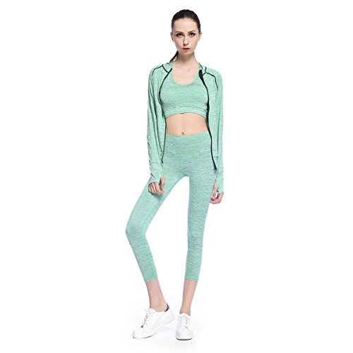 Bonjanvye Yoga Clothes for Women Set Activewear Jacket with Thumb Holes Running Bra and Activewear...