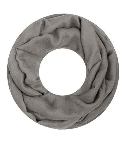 Majea Loop Cary Basic Schal Tuch Damen-schal Schlauchschal Rundschal Halstücher uni unifarben Loopschal einfarbig (dark taupe 1)