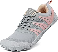 Oranginer Women's Flexible Barefoot Shoes Zero Drop Minimalist Running Shoes Outdoor Trail Running Shoes for Women Gray/Pink Size 8