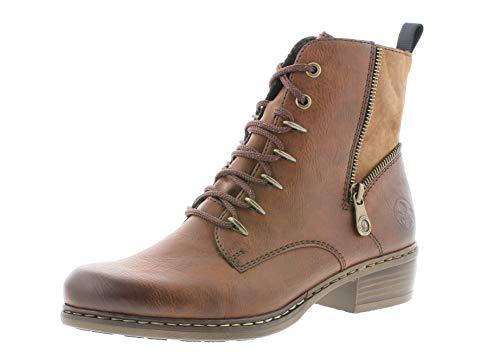 Rieker Damen Stiefel, Frauen Schnürstiefel, Freizeit leger Boots Combat schnürung weiblich Lady Ladies feminin elegant,Brown,41 EU / 7.5 UK